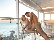 Interracial sunset fuck mixed couple fantastic banging on the porch